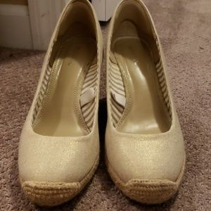 Light gold espadrille wedges